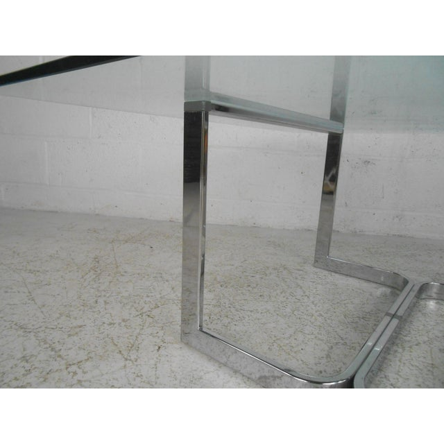Metal Mid-Century Modern Chrome and Glass Coffee Table For Sale - Image 7 of 11