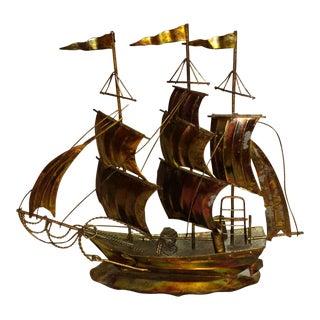 Mid-Century Brass Clipper Ship Sculpture For Sale