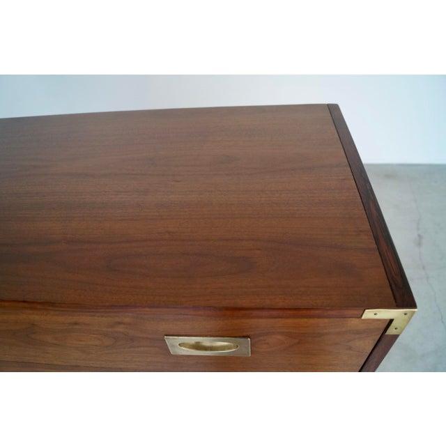 Hollywood Regency Walnut Rosewood Campaign Dresser For Sale - Image 12 of 13