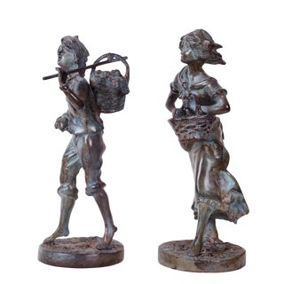 "Grape Picker ""Moreau's Vendangeur and Vendangeuse"" Bronze Sculptures - a Pair For Sale"