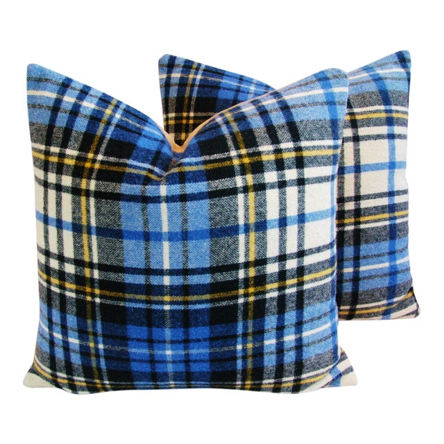 """Vintage Scottish Tartan Plaid Wool Feather/Down Pillows 24"""" Square - Pair For Sale"""