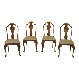 1930s Vintage Walnut Dining Room Chairs - Set of 4 For Sale