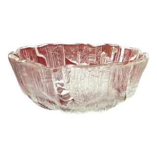 1960s 1960's Scandinavian Texturized Ice Glass Bowl For Sale