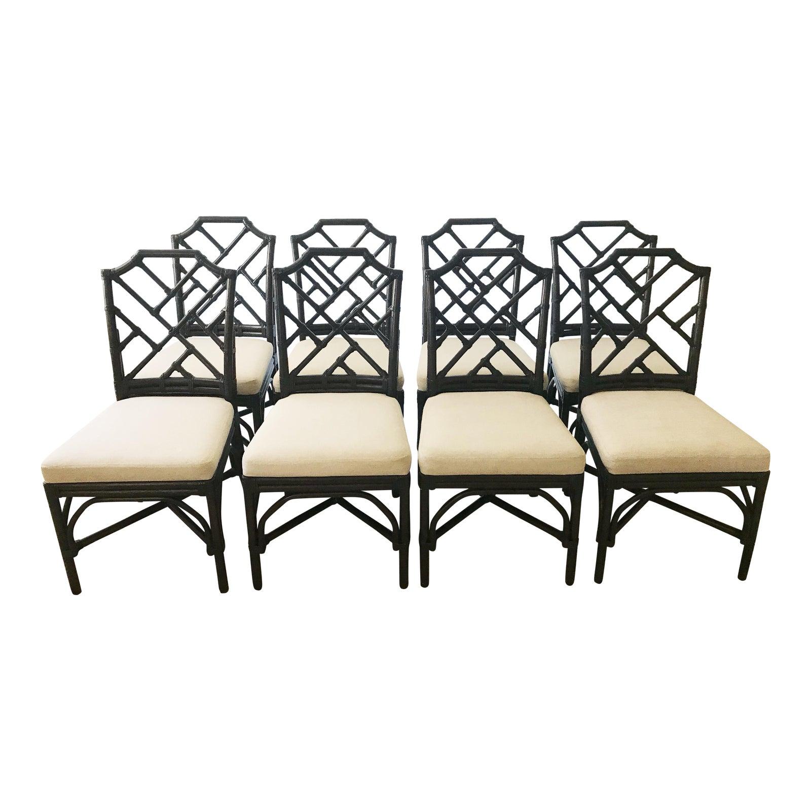 Phenomenal Rattan Palecek Chippendale Dining Chairs Set Of 8 Theyellowbook Wood Chair Design Ideas Theyellowbookinfo