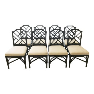 Rattan Palecek Chippendale Dining Chairs - Set of 8