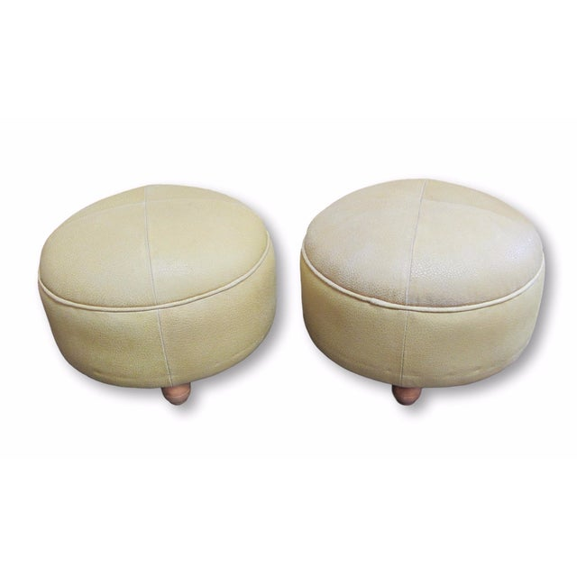 Pair of Butter Leather Foot Stools - Image 1 of 6