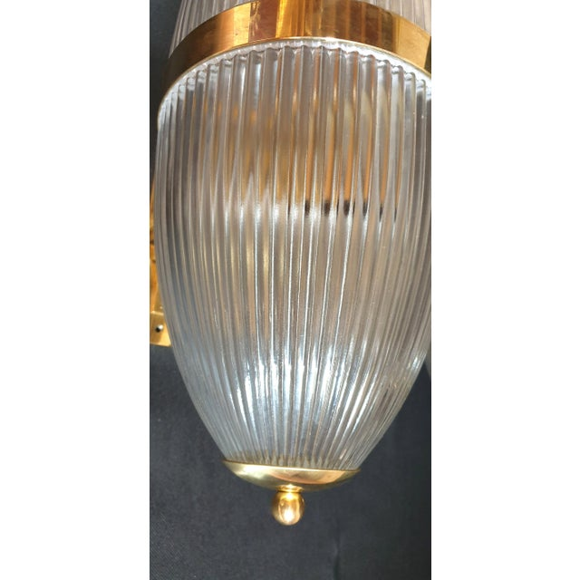 Gold Large Mid-Century Modern Clear Glass & Brass Italian Sconces or Lanterns - a Pair For Sale - Image 8 of 12