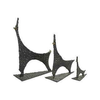 Mid Century Modern Brutalist Dog Family Sculptures - Set of 3