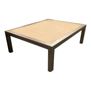 Contemporary Coffee Table With Metal Base in Pewter Finish and Limestone Top For Sale