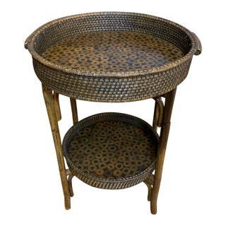 Rattan Bamboo Folding Tray Table For Sale