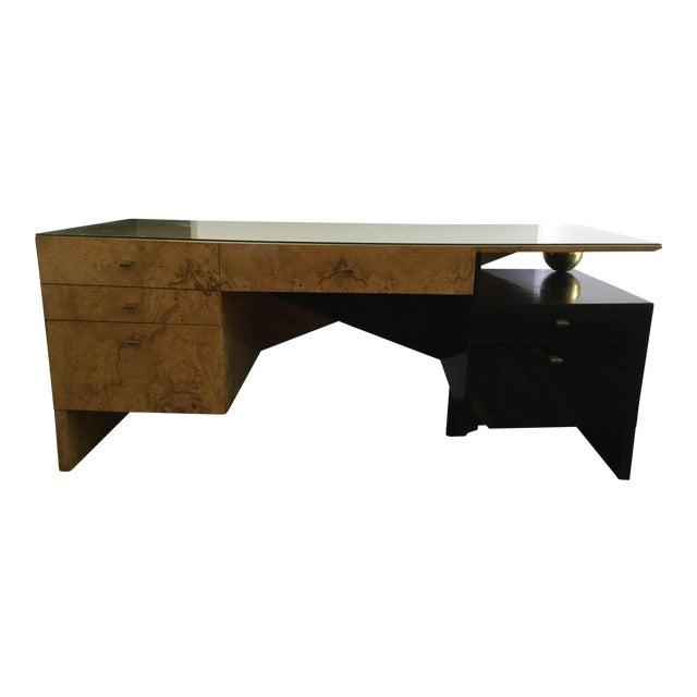 Italian Burl Wood Desk For Sale