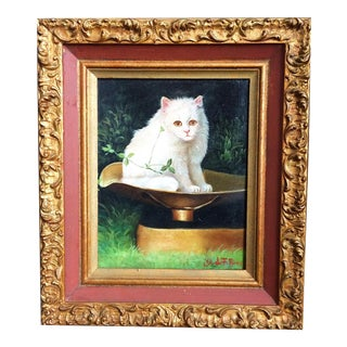 Late 19th Century Antique George De Forest Brush Cat Oil on Canvas Painting For Sale