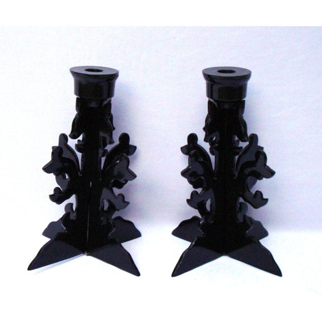 Modern Goth Black Metal Candle Holders - Image 2 of 10