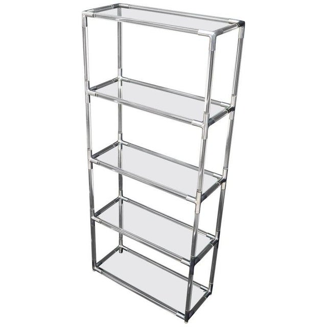 Lucite and Aluminum Mid-Century Modern 5-Tier Etagere Vitrine Shelving Unit For Sale - Image 13 of 13