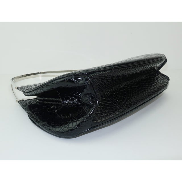 Vintage Versace Black Croc Embossed Leather Handbag With Unique Handles For Sale In Atlanta - Image 6 of 13