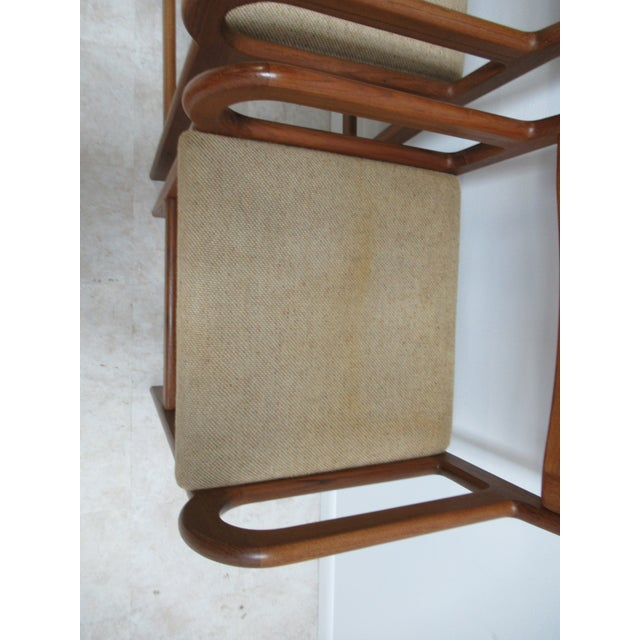 Danish Modern Teak Ladder Back Bar Counter Arm Stools - a Pair For Sale - Image 4 of 12