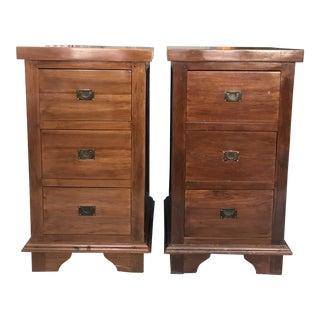 Balinese Teak Wood Nightstands - Set of 2 For Sale