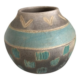 Vintage Signed Artisan Pottery Vase For Sale