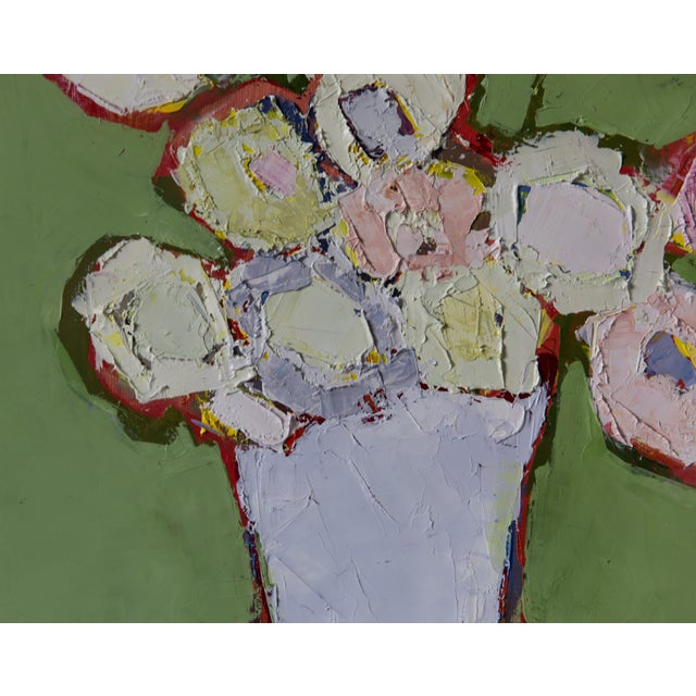 """Bill Tansey """"Mint Wall"""" Abstract Floral Painting Oil on Canvas For Sale - Image 4 of 4"""