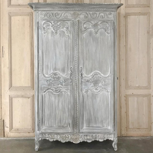 19th Century Country French Provincial Whitewashed Armoire For Sale - Image 13 of 13