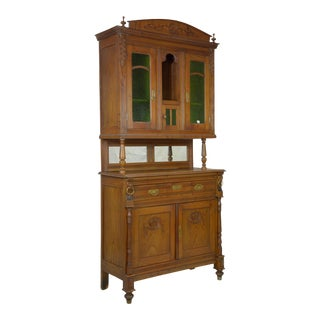 Antique French Art Nouveau Stained Glass Buffet Deux Corps For Sale
