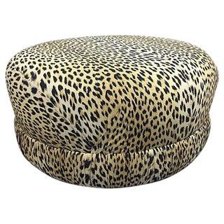 Mid-Century Leopard Fabric Ottoman
