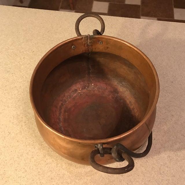 Antique Copper Cauldron Planter For Sale - Image 10 of 11