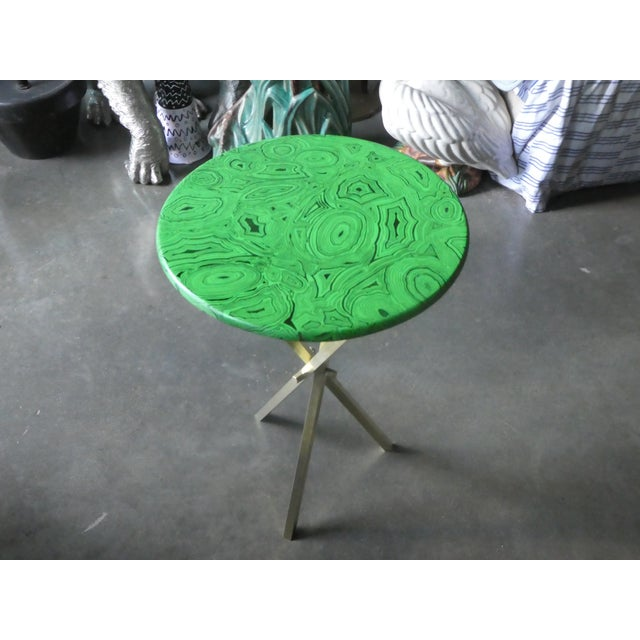 Gorgeous mid century faux malachite Fornasetti side table. Sold as found without damage showing normal signs of previous use.