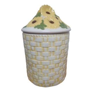 Vintage Sunflower Basket Motif Canister For Sale