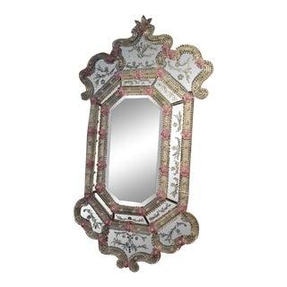 Italian Art Glass Pink Flower Motif Wall Mirror For Sale