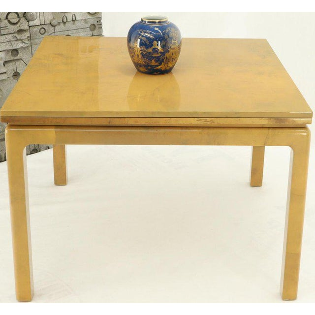 Lacqured Goat Skin Parchment Square Flip Top Dining Table For Sale - Image 10 of 13