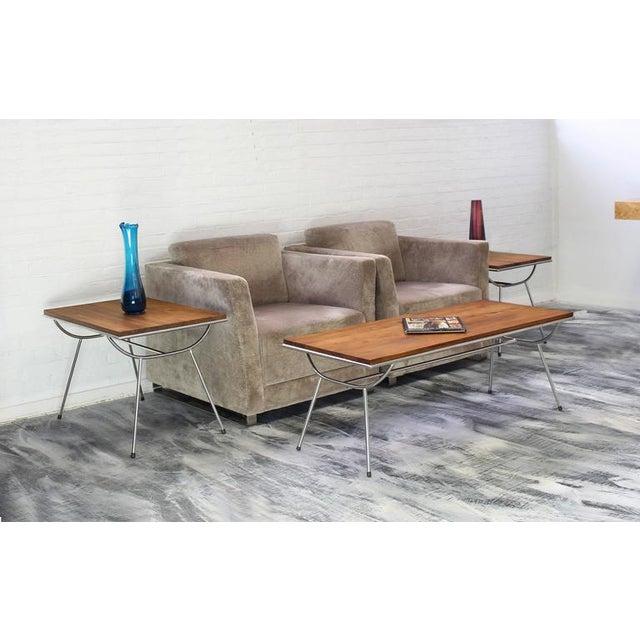 Pair of Sputnik Chrome Base Side Table For Sale - Image 4 of 9