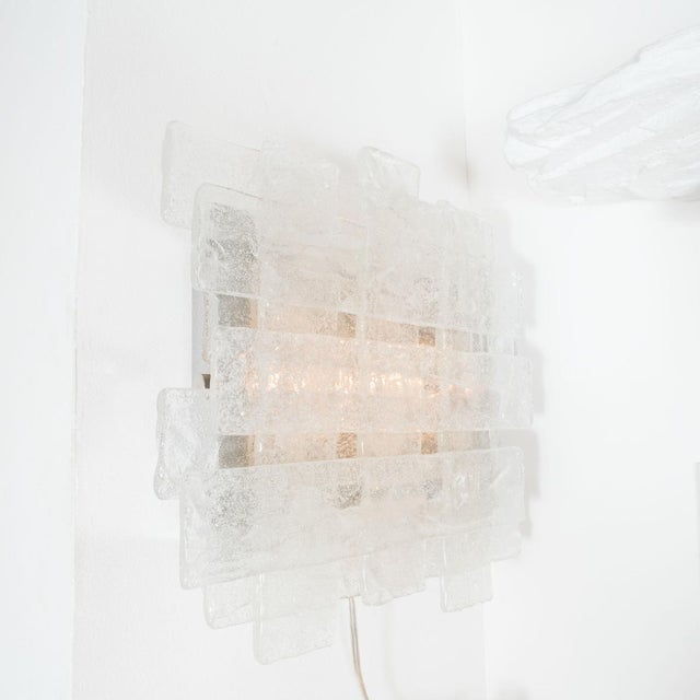 Contemporary Crosshatch Murano Glass Sconces by Mazzega - a Pair For Sale - Image 3 of 4