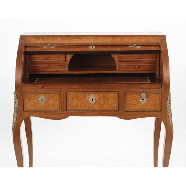 Transitional Early 20th Century Louis XV/XVI Transitional Style Parquetry Inlaid Walnut Cylinder Desk For Sale - Image 3 of 5