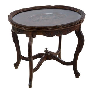 19th Century French Serving Tray Top Side Table For Sale