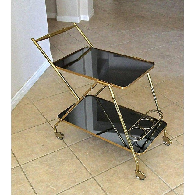 1950s Italian Brass Faux Bamboo Bar Tea Cart For Sale - Image 5 of 13