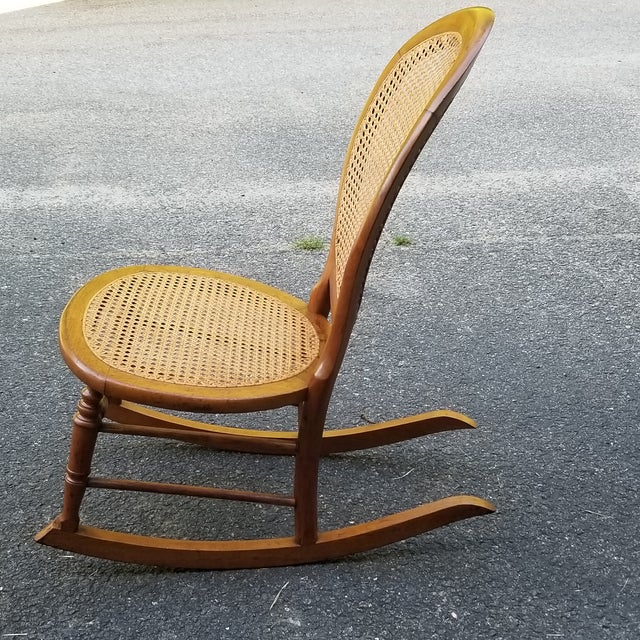 Wood Vintage Cane Sewing Rocking Chair Children's Chair For Sale - Image 7 of 8