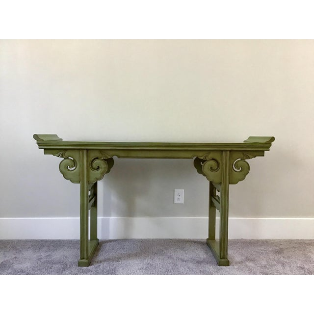 Oil Paint 20th Century Asian Style Jade Wood Altar Console Table For Sale - Image 7 of 10