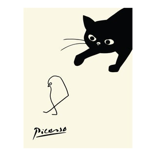Cat Chasing Bird Poster Print by Pablo Picasso For Sale