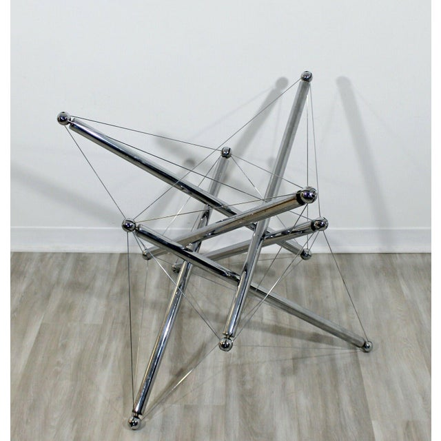 Cassina Mid Century Modern Cassina Sculptural Atomic Chrome Dining Table Base Italy 70s For Sale - Image 4 of 7
