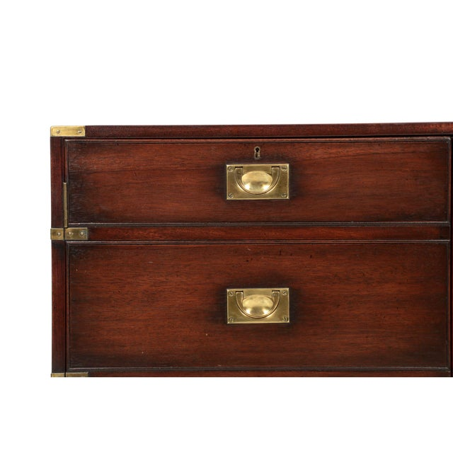 Brass English Campaign Style Brass and Mahogany Side-by-Side Cabinet, 20th Century For Sale - Image 7 of 11