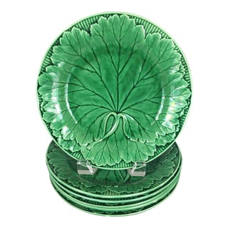 19th Century Cottage Wedgwood Majolica Leaf Plates - Set of 6 For Sale