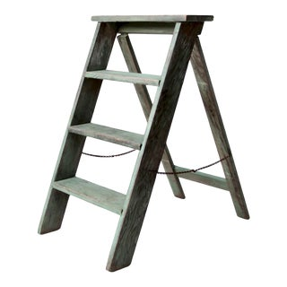 Vintage Green Wood Step Ladder For Sale
