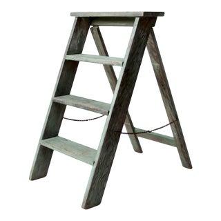 Vintage Green Wood Step Ladder For Sale