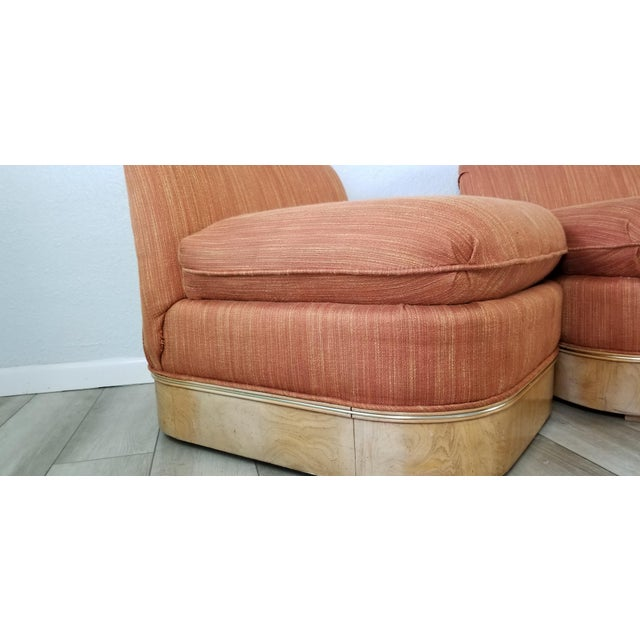 Milo Baughman for Lane Burl Wood Base Slipper Lounge Chairs - a Pair For Sale - Image 11 of 12