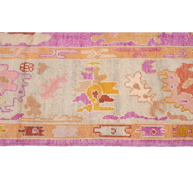 Pink 21st Century Contemporary Modern Oushak Wool Rug For Sale - Image 8 of 13