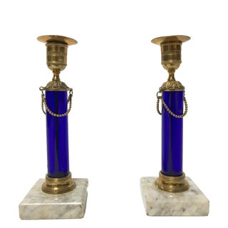 18th Century Marble and Blue Glass Swedish Candlesticks - a Pair For Sale