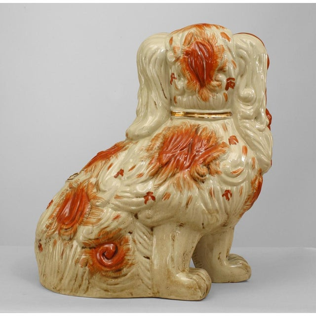 Staffordshire Early 20th Century English Staffordshire Spaniel Sculptures - a Pair For Sale - Image 4 of 6