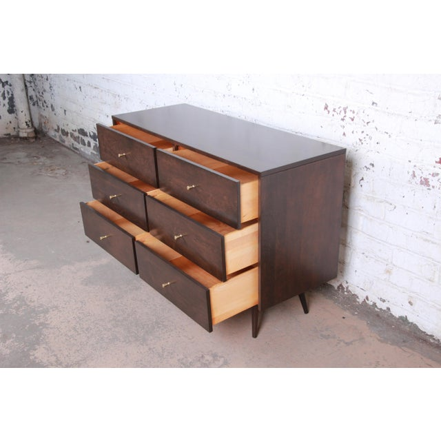 Brown Paul McCobb Planner Group Six-Drawer Dresser, Newly Refinished For Sale - Image 8 of 13