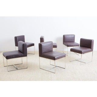 Milo Baughman Style Chrome and Leather Dining Chairs Preview